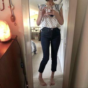 Uniqlo High rise dark denim cigarette jeans 👖